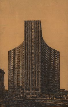 Competition entry for a highrise in Berlin (1922), Hans Poelzig #highrise #1920 #project