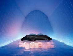 Artistic bed in ICEHOTEL