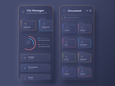 SKEUOMORPH FILE MANAGER APP | DARK MODE BY IMRAN HOSSEN