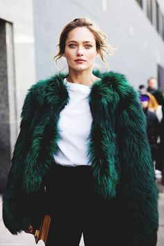 fashion, fur, green, model