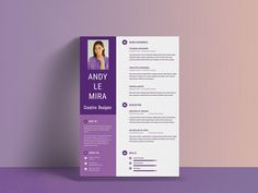 Purple Resume - Free Purple Resume Template PSD