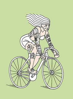 Grace Garcia Salcedo - Girls on wheels #illustration #tattoo #bike