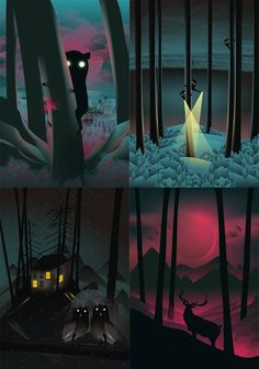 Martynas Pavilonis #fantasy #night #illustration #creatures #magic #forest