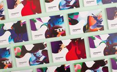 Business cards created by Bielke+Yang featuring illustrative work by MVM for science centre Vitenparken #cards #business
