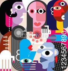 Human Relations. Large group of people - abstract art vector illustration. #digit #retro #eye #illustration #digital #vintage #nume #relation #hand #fine #friendship #abstract #design #divorce #human #figure #man #face #party #meeting #head #code #unusual #friends #family #vector #woman #password #person #people #hair #art #style
