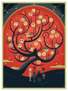 Halloween Tree, Glen Brogan #halloween #pumpkin #tree #curves #heads #illustration #spooky #children #scary