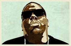 Biggie | Illustration | KyleMosher.com #biggie #big #notorious #newspaper #illustration #rapper #portrait #vintage #art #musician