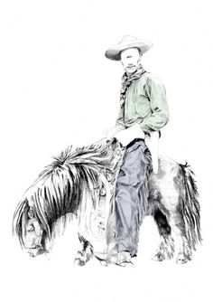 One eye with his Pony on the Behance Network #eye #illustration #cowboy #one #eakkarla #pony