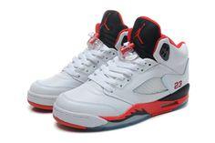 "Female Michael Jordan 5 GS ""Fire Red "" White Fire Red Black Nike Shoe #shoes"