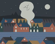 Night #happy #town #sleep #night #illustration #hotel #river #village #drawing