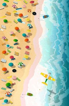 """Summer Days"" #beach #summer #illustration #umbrellas #airplane #landscape #decor #boats #travel #Andalusian"