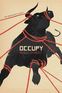Designersgotoheaven.com Occupy Wall Street by Alexandra Clotfelter. #illustration #bull #down #tied