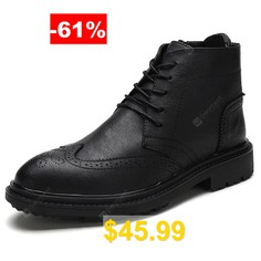 AILADUN #Men's #Business #Casual #High-top #Shoes #England #Style #Carved #Solid #Color #- #BLACK