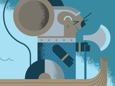 Dribbble - Viking Mouse by Ryan Brinkerhoff #ryan #mouse #brinkerhoff #illustration #boat #axe #viking