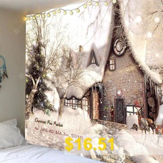 Christmas #White #Snow #House #Printed #Wall #Tapestry #- #WHITE #AND #BROWN