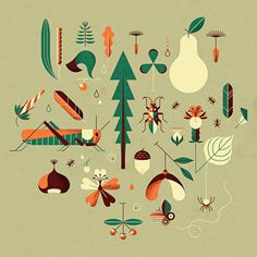Andrea Manzati #illustration #geometric #texture #nature #vectors #fruits