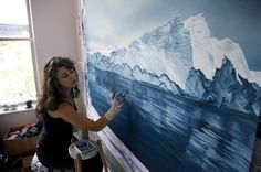 Exploring Climate Change through Art: Giant Pastel Oceanscapes and Icebergs Drawn by Zaria Forman #painting #art
