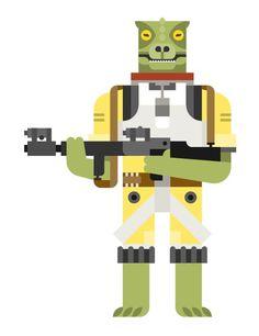 A third Star Wars bounty hunter illustration: Bossk,the fierce Trandoshan warrior whose name means