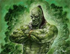 Ehrnam Djinn #creature #fantasy #angry #smoke #illustration #djinn #magic #monster #character #green