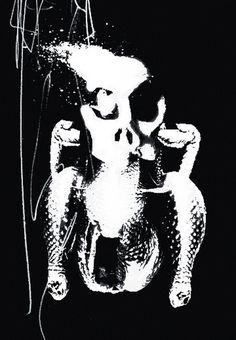 TIREPLAYGROUND #heart #blackwhite #turkey #graphic #chicken #skull