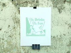 For Drinks For Fun - 8 x 10 Mini Poster #kitsch #retro #girlie #illustration #vintage #etching #matchbook #art #burlesque