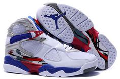Jordan 8 white blue red Nike Womens Size Shoes #shoes