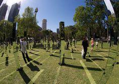 field is an immersive mirrored maze in sydney's hyde park #mirror #light #reflection
