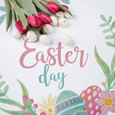 Happy easter day Free Psd. See more inspiration related to Flower, Mockup, Floral, Typography, Spring, Leaves, Celebration, Happy, Font, Holiday, Mock up, Easter, Plant, Drawing, Religion, Egg, Painting, Lettering, Traditional, Bouquet, Test, Tulip, View, Up, Happy easter, Day, Top, Top view, Eggs, Flower bouquet, Cultural, Tradition, Mock, Seasonal, Paschal and Tulip bouquet on Freepik.