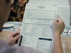 Pidgin Kitchen & Bar #print #menu
