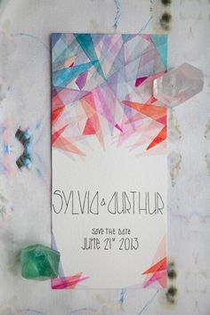 Modern Watercolor Save the Date | Invitation Crush #watercolor #paper #geometric #invitation