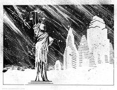 Frank-Miller-Holy-Terror-First-Five-2-500x385.jpg (500×385) #miller #terror #white #city #black #night #statue #rain #storm #frank #york #holy #new