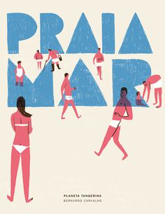 High tide | Planeta Tangerina #illustration #typography #book #cover #beach #water
