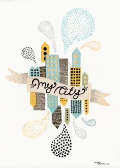 Michelle Carlslund illustration My City White #banner #white #city #yellow #illustration #poster #blue #light