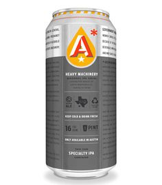 Austin Beerworks Heavy Machinery IPA Cans #packaging #beer #can #label
