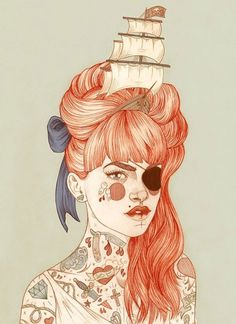Juxtapoz Magazine - The Work of Liz Clements | Current #redhead #illustration #tattoo #art #drawing