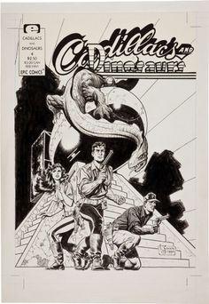 Mark Schultz - Cadillacs & Dinosaurs #4 Cover (1990), in GenePark's Schultz, Mark (Xenozoic/Cadillacs) Comic Art Gallery Room