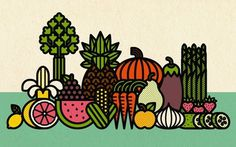 Fruits & Veggies print « BURLESQUE OF NORTH AMERICA #illustration