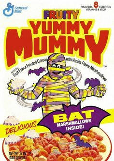 Fruity Yummy Mummy cereal box design