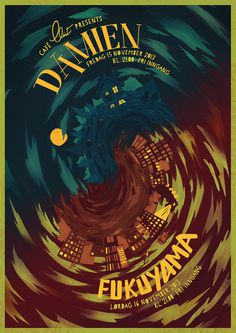 Gig poster for a Damien/Fukuyama concert at Café Clint #tornado #swirl #gig #spiral #illustration #painting #poster