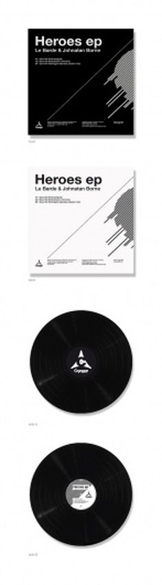 Heroes vinyl EP design on the Behance Network #lines #blackwhite #minimalistic