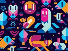 Dribbble - winter wood by Igor_Eezo #illustration #colorful #pattern #animals