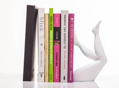 Book end by Victoria Molina for Objesion http://payload.cargocollective.com/1/3/118088/2038261/W3905.jpg #resin #white #bookend #mexico #book #legs