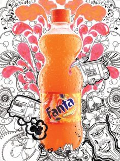 Hee K. Chun #line #fresh #orange #drawing #fanta #hand