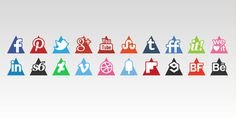Triangles Icons Set #media #icons #triangles #social