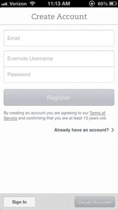 Evernote #simple #signup #clean