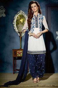 White& Blue Patiala Suit