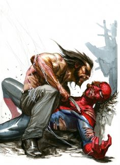 Wolverine vs. Spider Man by Gabriele Dell'Otto #claws #spider #wolverine #illustration #marvel #man #comics #web