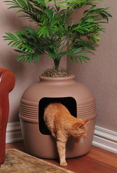 This litter-box doubles as a planter to hide your cat's business in plain sight, making it a great option for smaller spaces. #modern #litter #lifestyle #design #home #box #product #industrial #cats #style