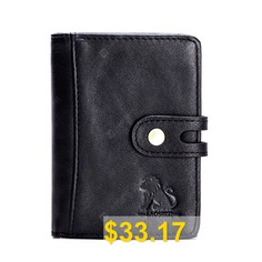 Old #Lion #Wallet #First #Layer #Cowhide #Anti-Theft #RFID #Coin #Holder #Coin #Purse #- #BLACK