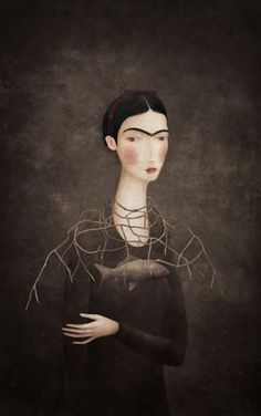 this isn't happiness™ (Frida, Gabriel Pacheco), Peteski #illustration #portrait #painting #monobrow #frida